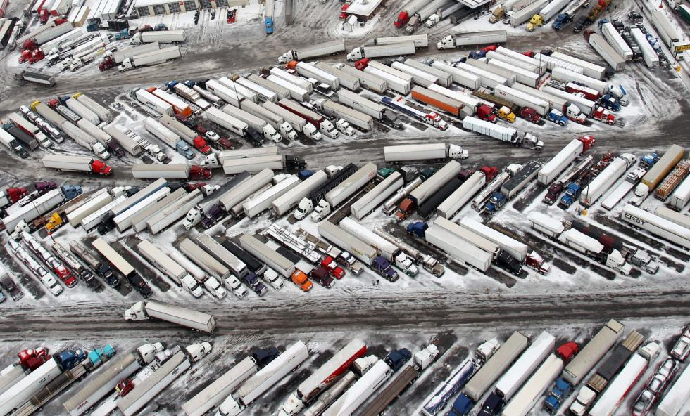 Picture of a truck parking lot.
