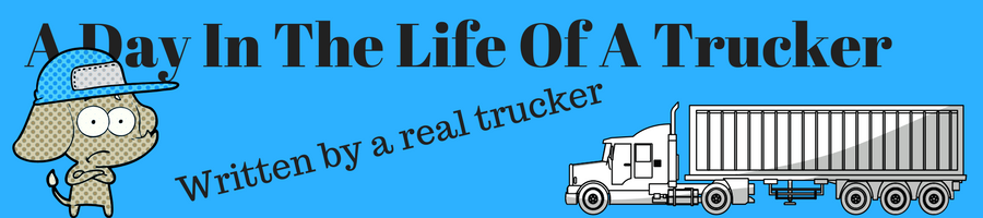 Image of a semi truck and a truck driver with the caption